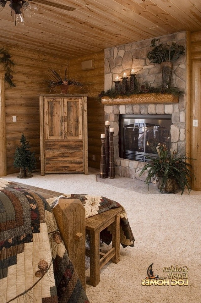 Master Bedroom Log Homes Rustic House Log Home
