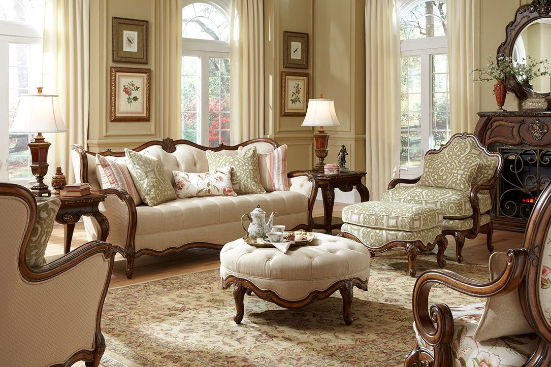 Michael Amini Lavelle Melange Luxury Wood Trim Sofa Set