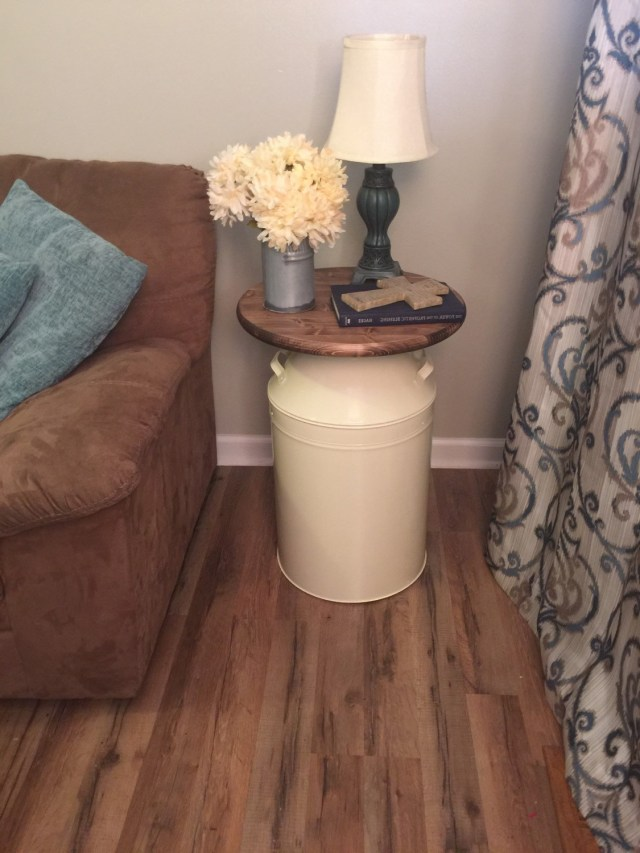 Milk Can End Table Wood End Table Cream Milk Can End Table