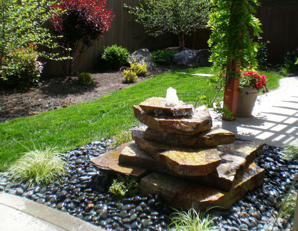 Minimalist Koi Fish Pond Design In Garden With Fountain