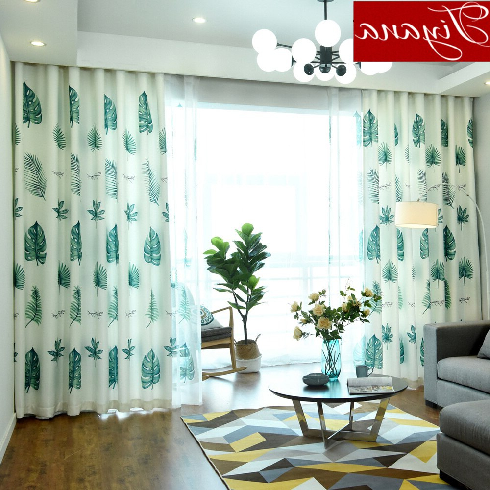 Modern Leaves Designer Curtain Tulle Window Bedroom Sheer