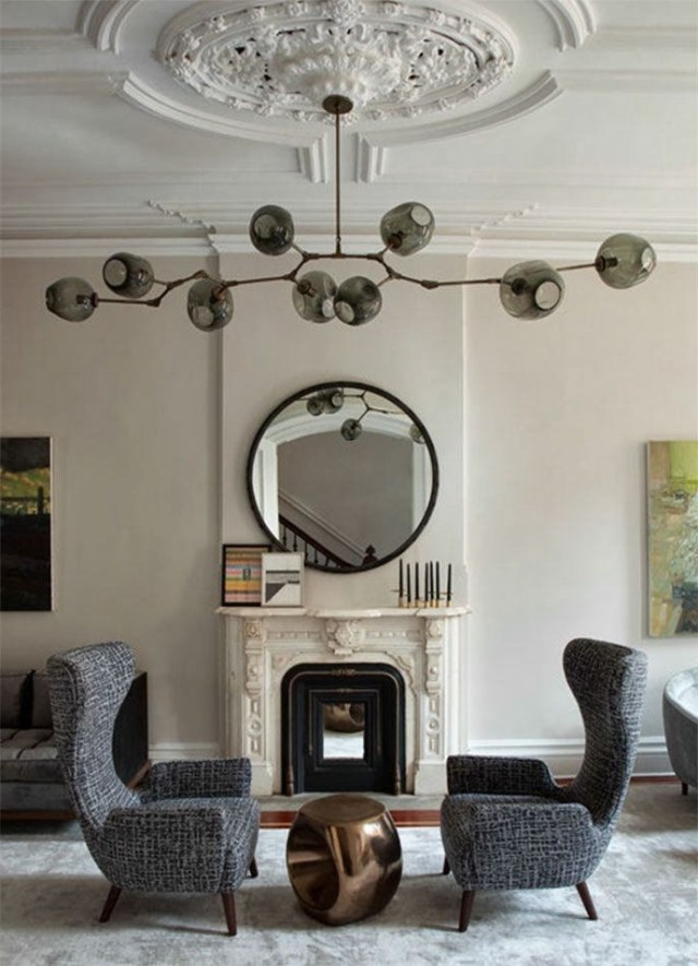 Modern Light Fixture With Classic Beautiful Ceiling