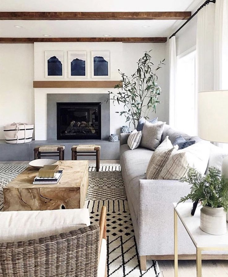 Neutral Family Room With Moroccan Rug Beautiful Modern