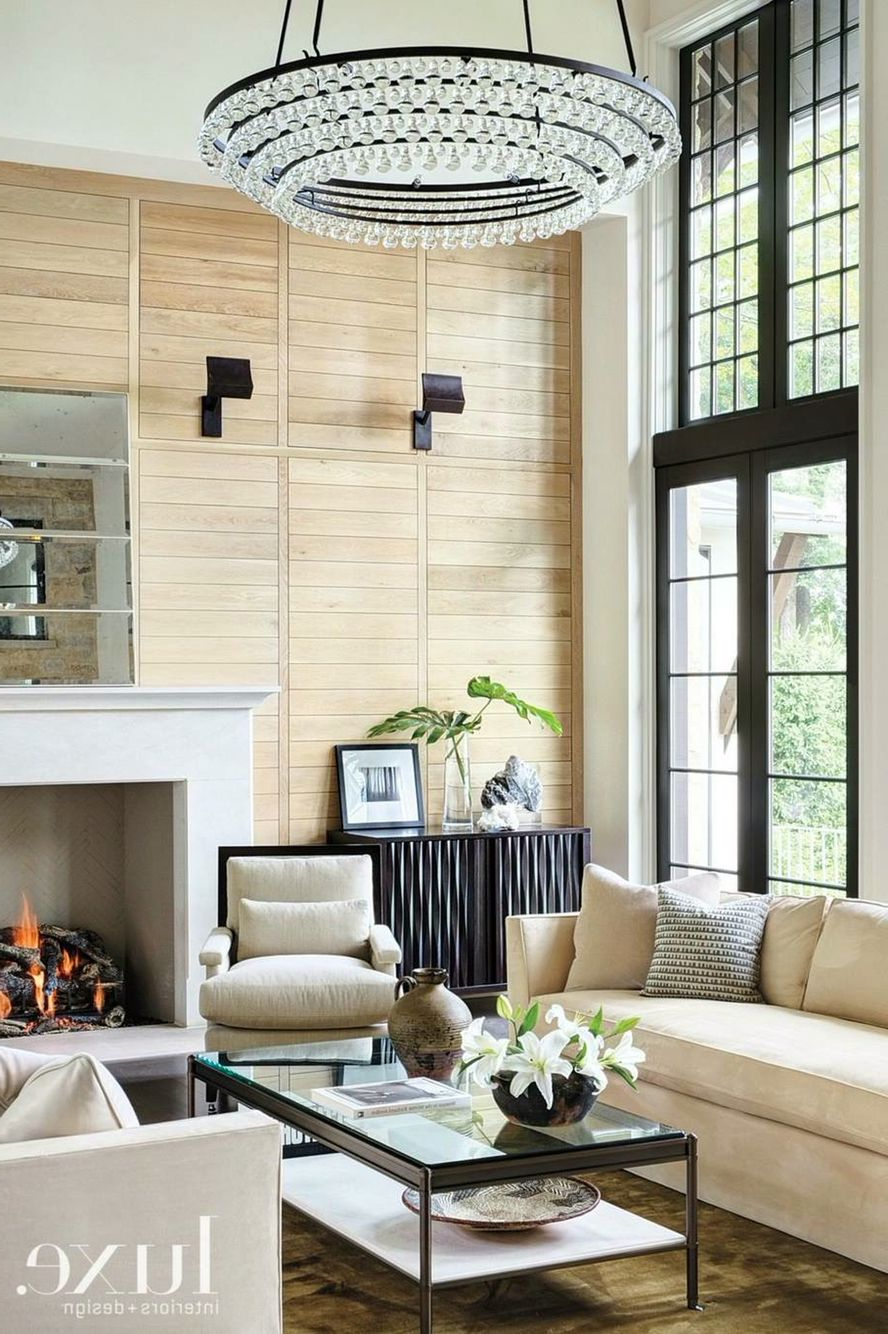 Neutral Living Room With Wood Slat Wall Minimalist