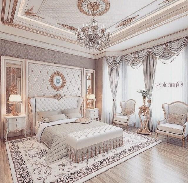 Neutral Luxurious Bedroom Romantic Elegant