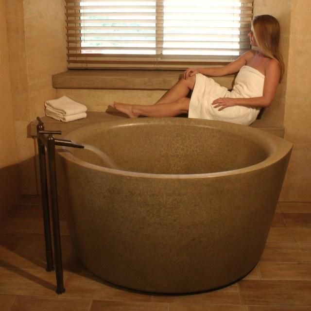Ofuro Japanese Style Soaking Tub A Concrete Bath Tub Is A