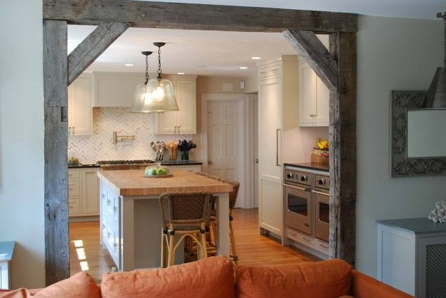 Open Up Wall Between Kitchen And Family Roomrustic Beam