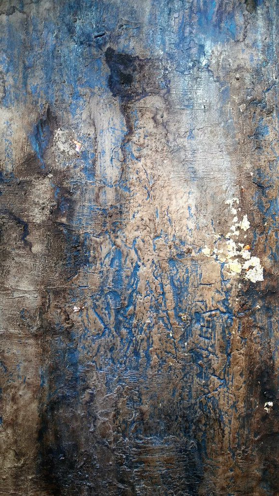 Original Rustic Gold Leaf Abstract Texture Painting 24 X