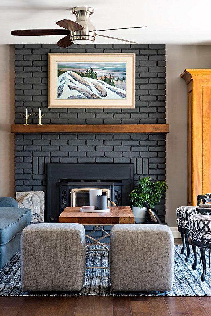Painted Brick Fireplace With Wood Mantle The Focal Point