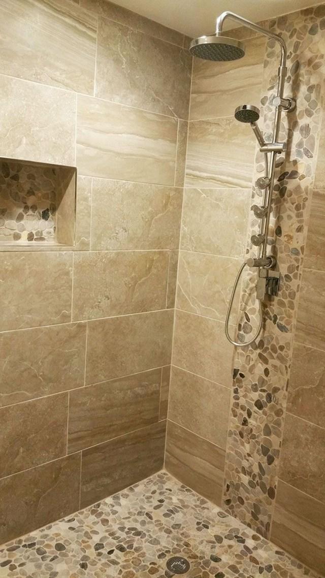 Pebble Stone Sliced Mixed Tile Bathroom Tile Designs
