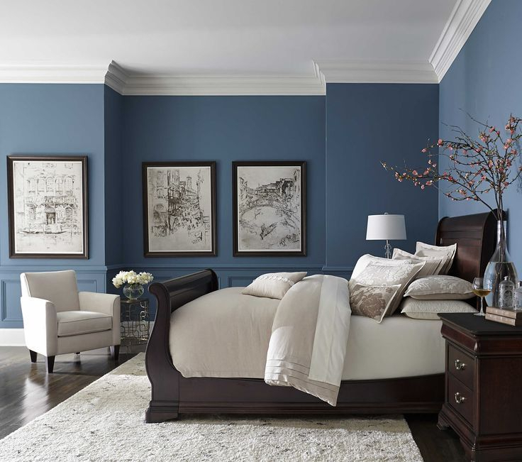 Pretty Blue Color With White Crown Molding Small Master