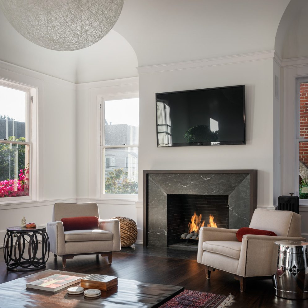 Pretty Mosaic Tile Fireplace Surround Ideas Living Room