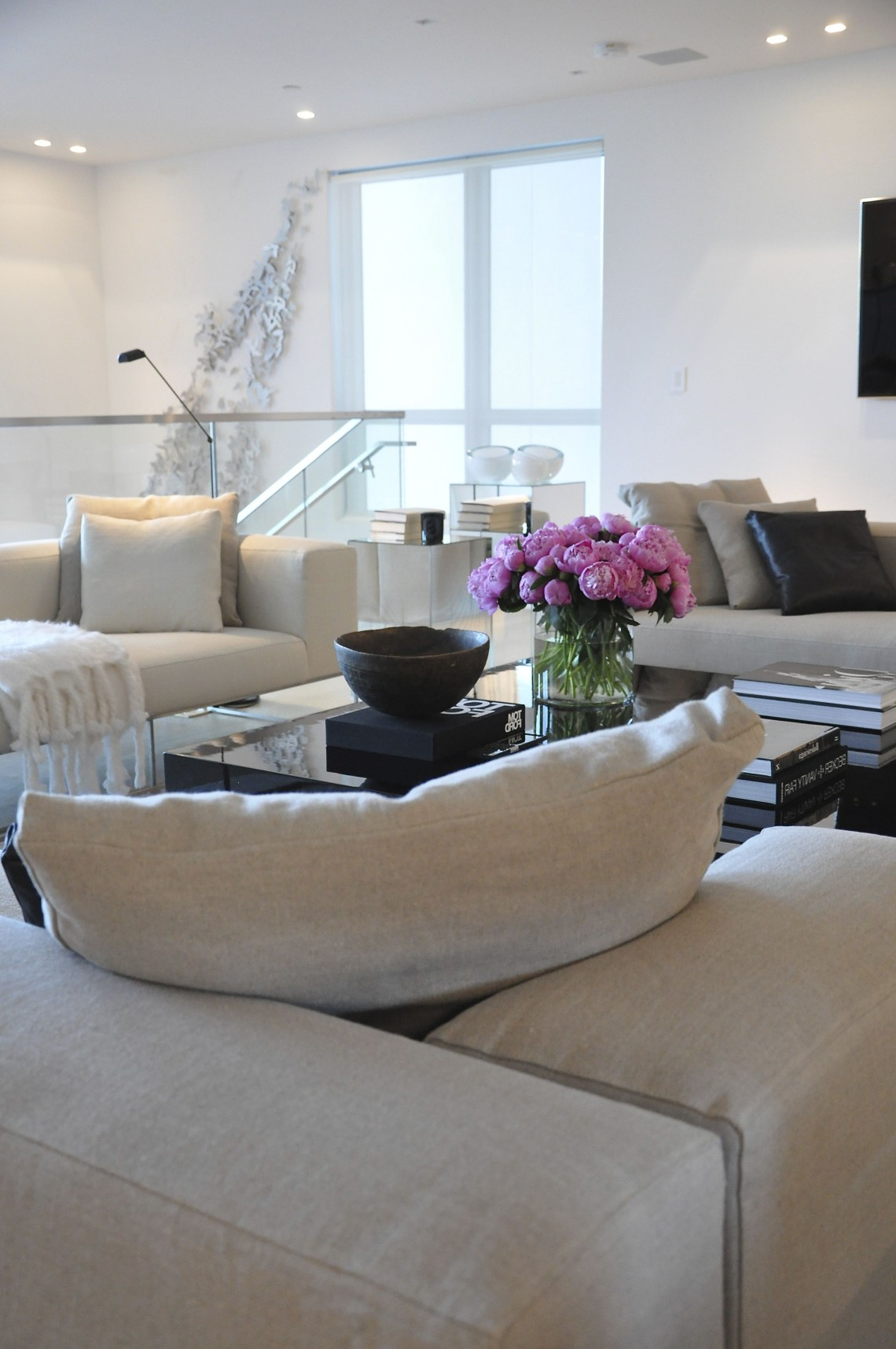 Pure White Walls Contemporary Living Room With Perfect