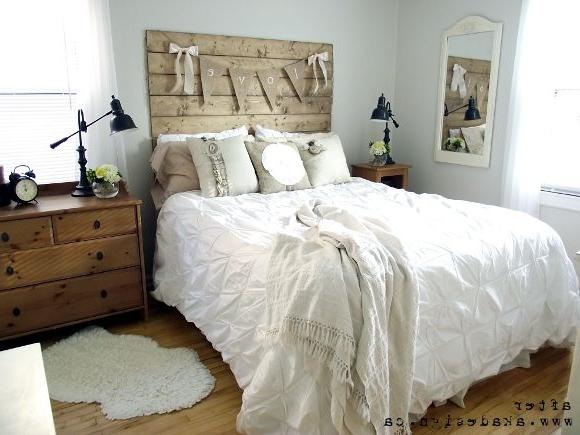 Reclaimed Wood Look Headboard Chic Master Bedroom
