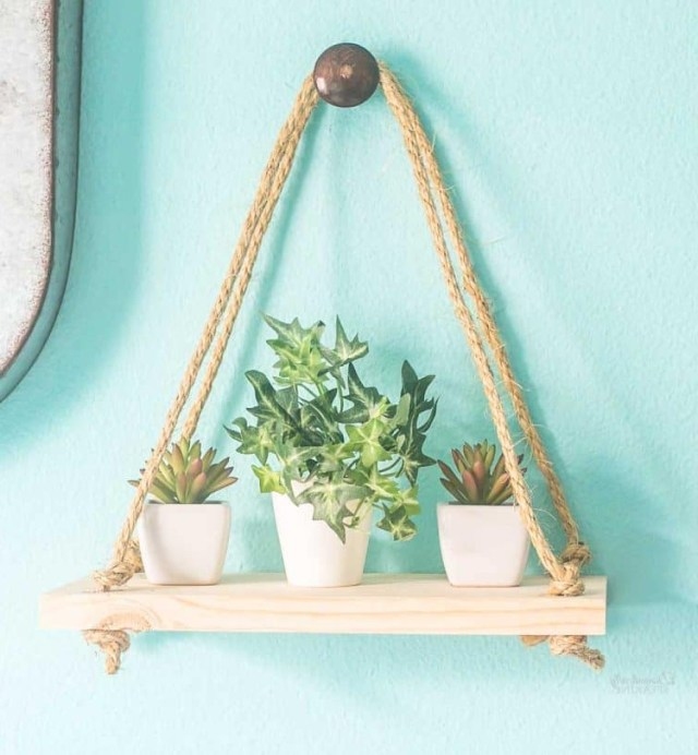 Rope Hanging Shelf For Succulents Domestically Speaking