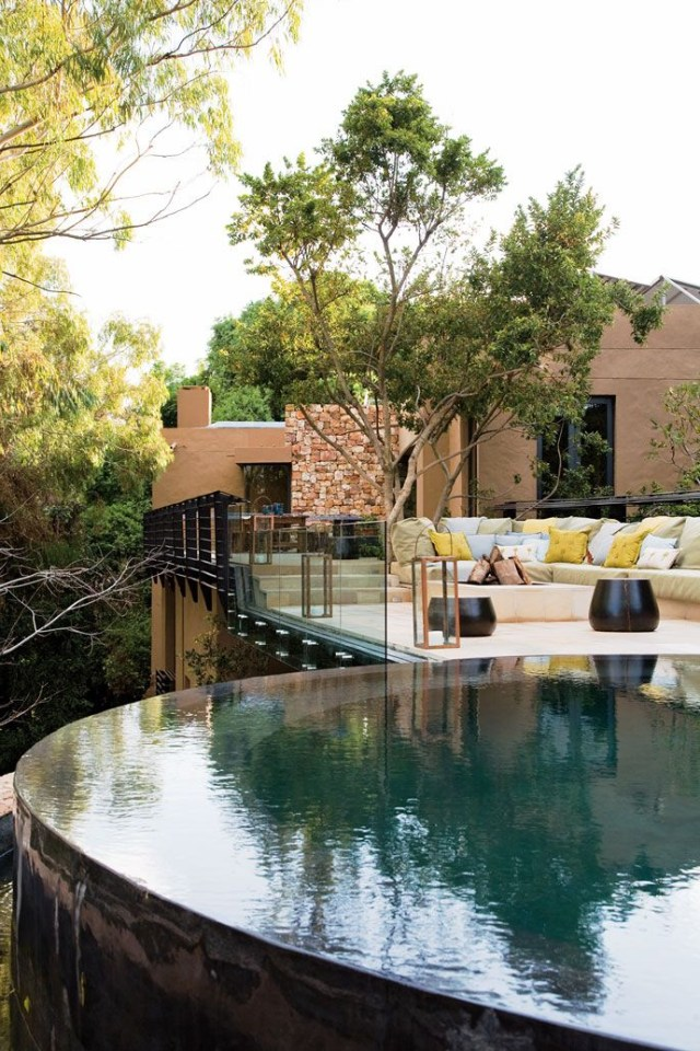 Round Infinity Pool Fire Pit Lounge Area Joburg Tree