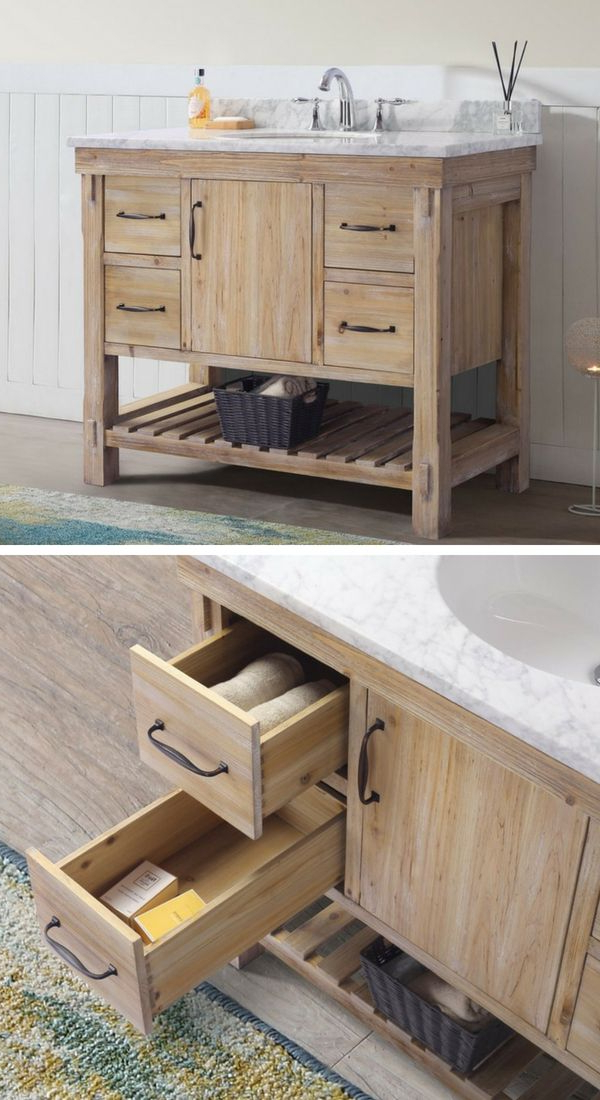 Rustic Bathroom Vanity Set With Stone Counter And Solid