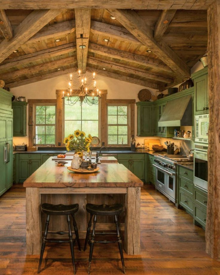 Rustic Green Kitchen Cabinets With Images Farm Style