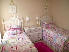 Small Beige Tween Bedroom Design Ideas With Twin White ...