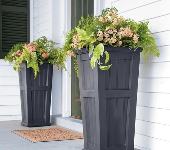 Tall Black Front Door Planters Outdoor Decor Home And