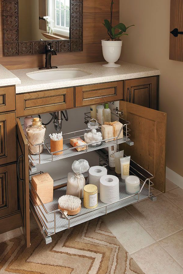The Unique U Shape Of This Sink Base Cabinet Slide Out
