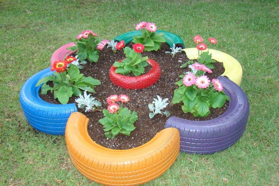 Tire Planters Tire Garden Diy Garden Decor Garden Art