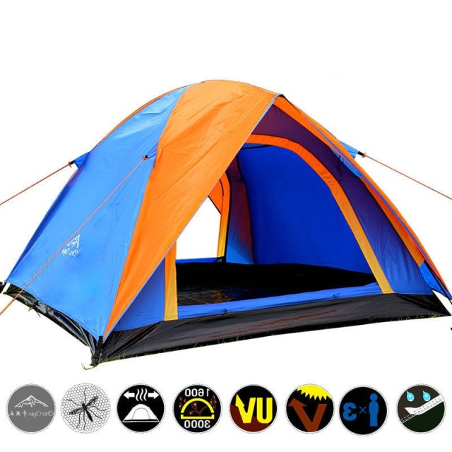 Top Quality 3 4 Person Double Layer Camping Tent All Weather Rainproof Double Door Outdoor Tent
