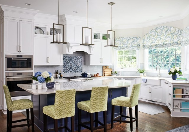 Transitional Painted White Kitchen With Classic Blue Island Crystal Cabinets
