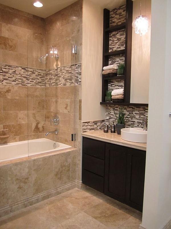 Travertine And Stone Glass Mixed Mosaic Bathroom