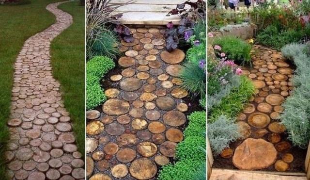 Tree Stump Walkway Path Diy Garden Garden Pathway