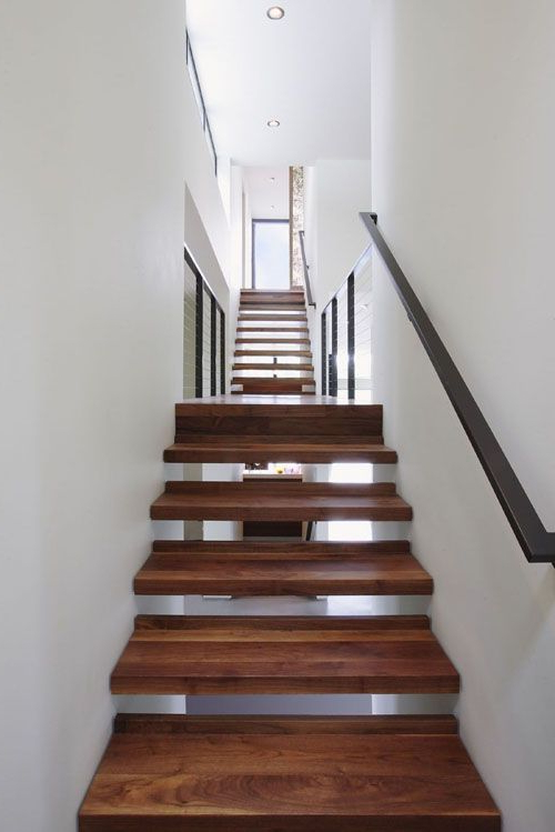 Ultra Wide Stairs With Beautifully Grained Wood Wedged In