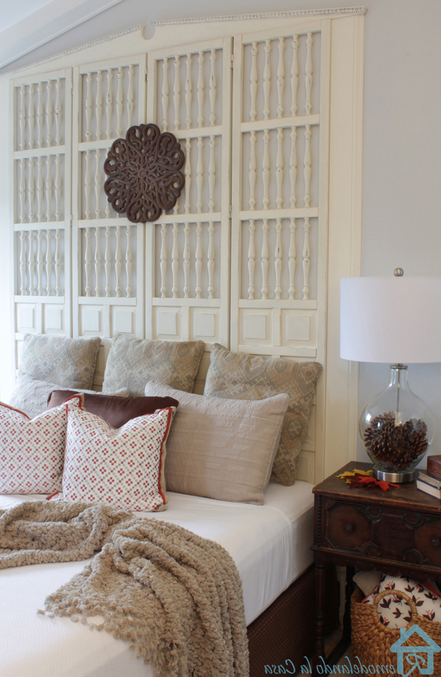 Upcycled Free Room Divider Becomes A King Size Headboard