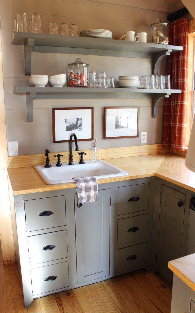 Upstairs Kitchen Gray Cabinets Tiny Kitchen Design Tiny