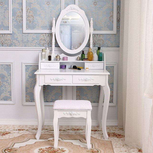 Vanity Desk With Mirror Bedroom Makeup Table For Girls Storage Modern Furniture Ebay