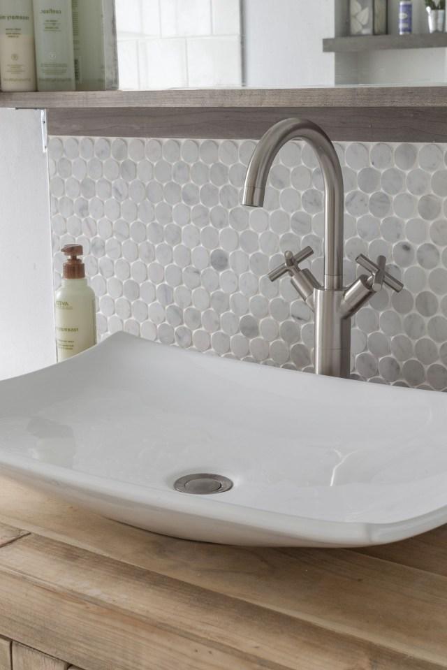Vessel Sink Marble Penny Tile Backsplash With Images
