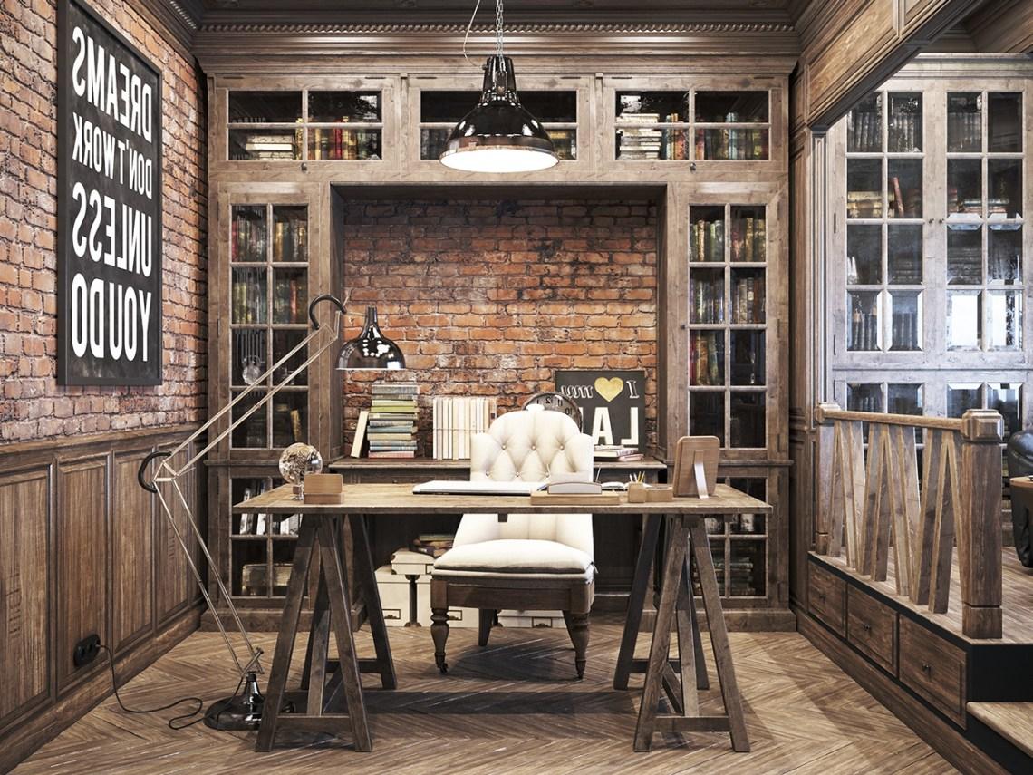 Vintage Office For A Private Residence Denis Krasikov