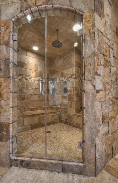 What A Perfect Shower Love The Natural Stone Colors
