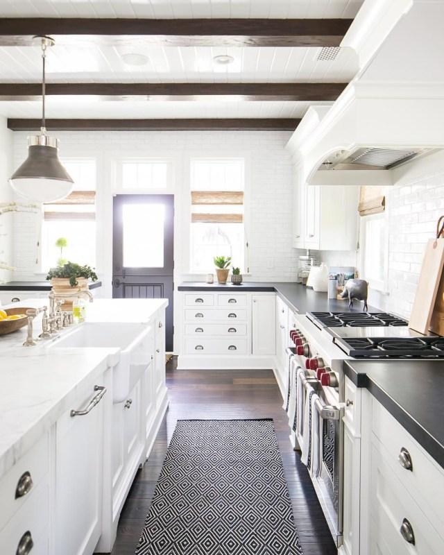 White Kitchen Cabinets Mixed Countertops Kitchen Design