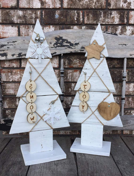 White Rustic Wooden Christmas Tree White Wooden Pallet Etsy