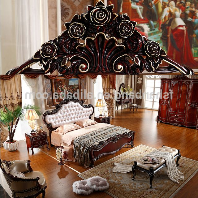 Wholesale Luxury French Royal Wood Double Bed Designs King