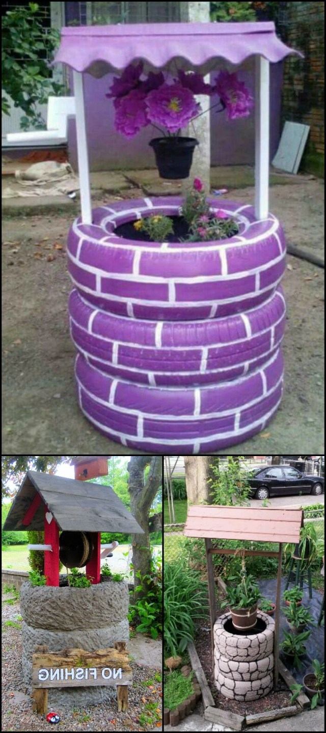 Wishing Well Planter Made From Recycled Tires Diy Garden