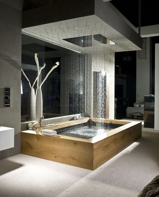 Wooden Bath With Overhead Rain Shower And Natural Elements