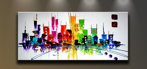 Wieco Art CitySpace Large Color City 100% Hand-painted