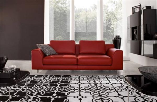 Dark Living Room Themes Living Room With Large Red Sofa