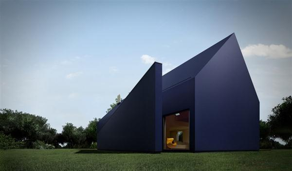 The Contemporary Blue House with Unique Roof Design of L