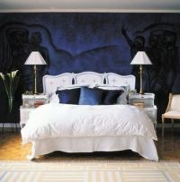 Dark Blue Bedroom with White, Brown, and Black | Home ...