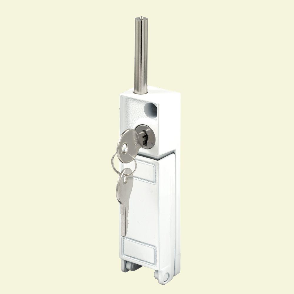 white sliding patio door keyed with bolt lock