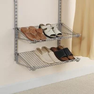 26 inch double shoe shelf in satin nickel