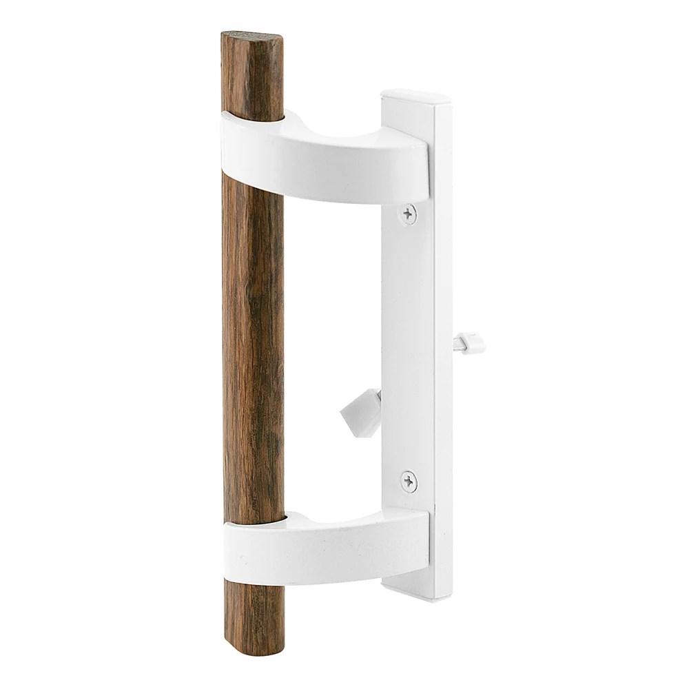 white diecast sliding door handle with mortise lock