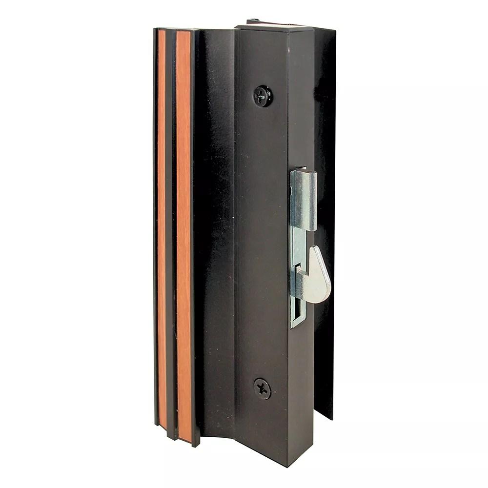 sliding glass door handle set 4 15 16 in extruded aluminum black hook style surface mount